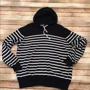 J crew men's striped pullover hoodie large